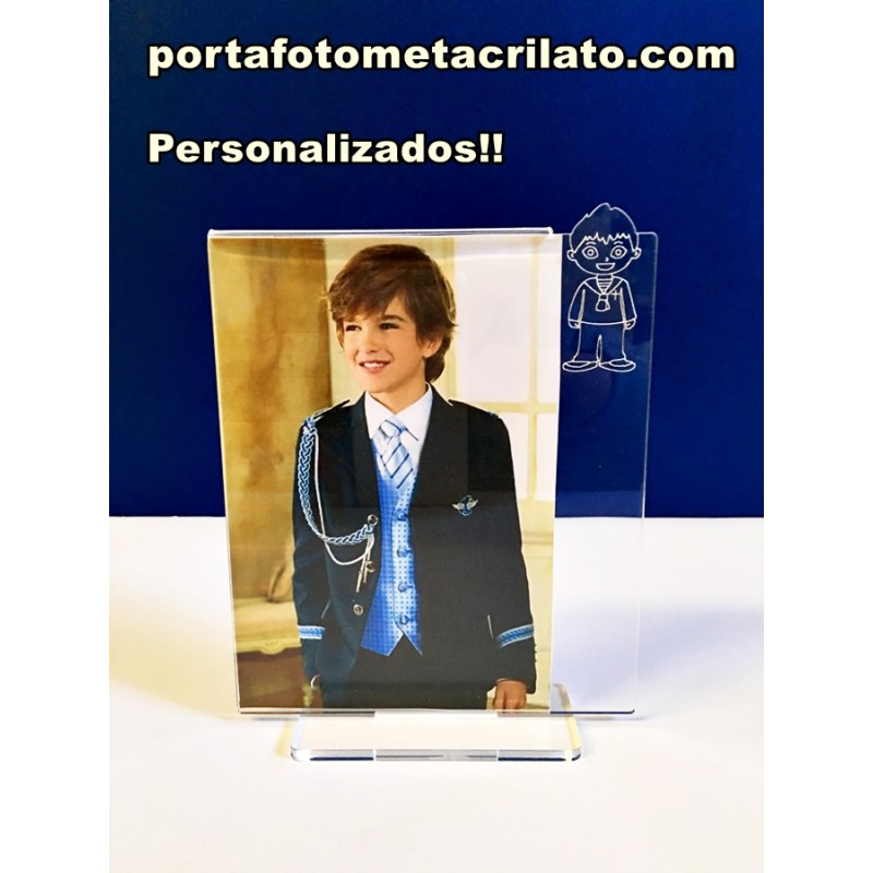 Portafoto Marcos 10x15 horizontal con dibujo niño de comunion oferta